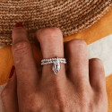 925 Silver double beaded ring & cowrie shell