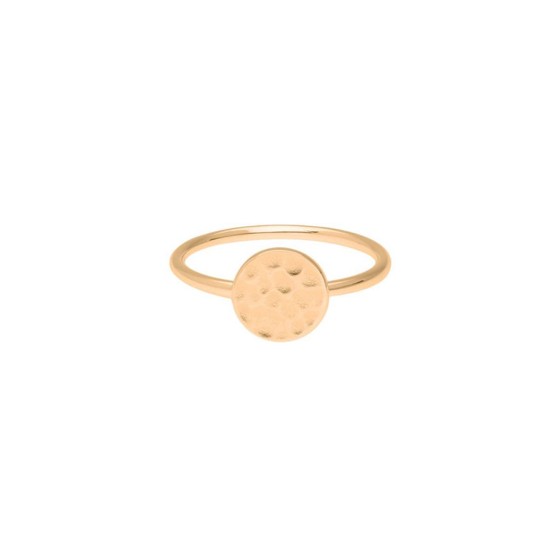 Gold-plated hammered medal ring