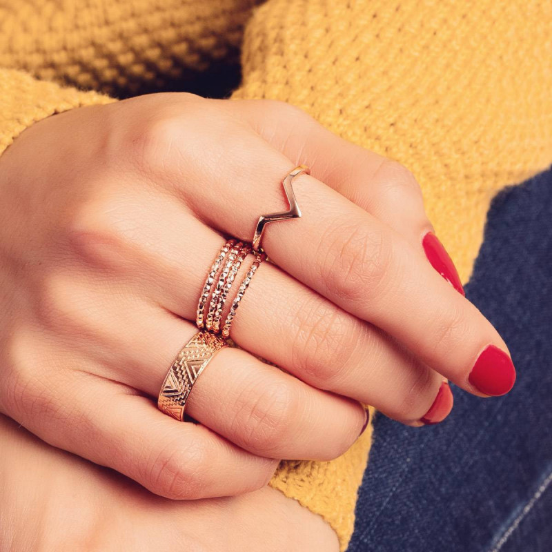 Thin rose gold-plated faceted ring