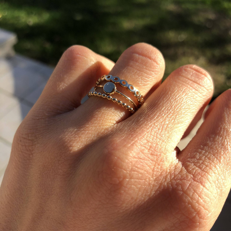 Gold-plated small medal ring