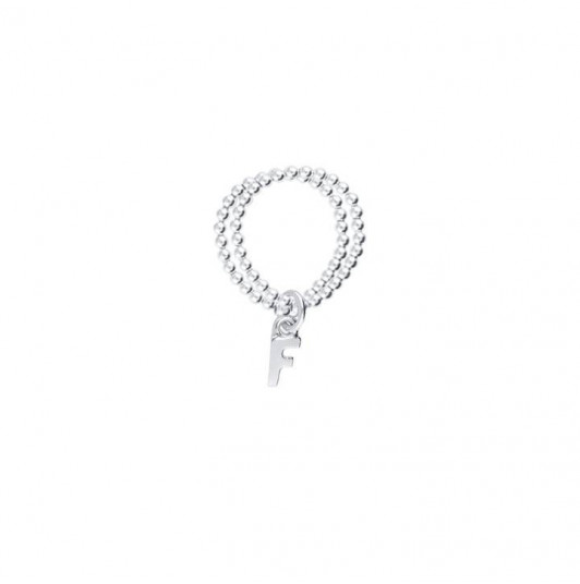 925 Silver letter charm on double beaded ring
