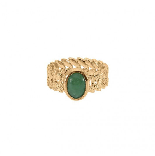 Gold-plated laurel ring & aventurine - L'Atelier d'Amaya