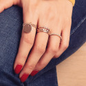Double thin beaded ring with thick medal