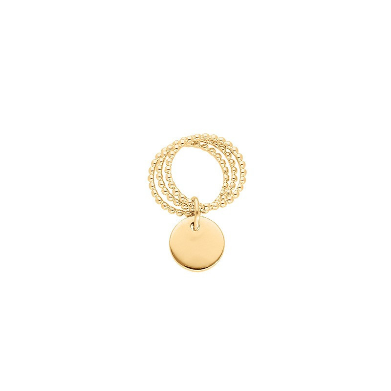 Triple thin beaded ring with thick medal