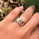 Small trapeze gemstone ring