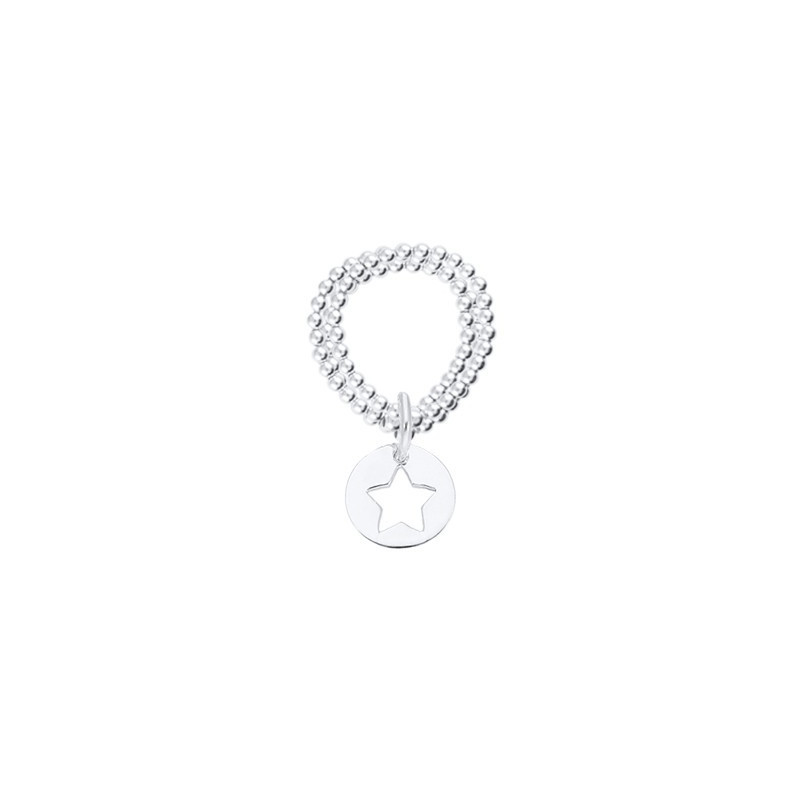 Perforated star medal on triple beaded ring