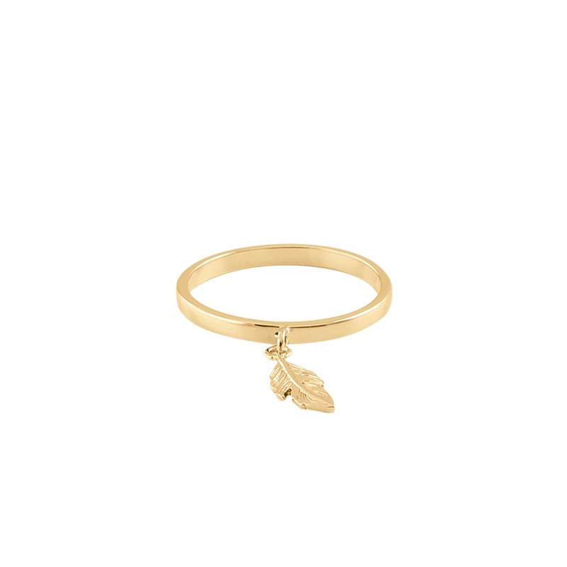 Mini gold-plated feather ring