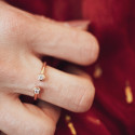 Open rose gold-plated zircons ring