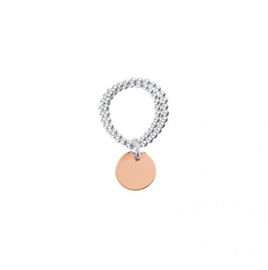 Small thick rose gold-plated medal on triple beaded ring