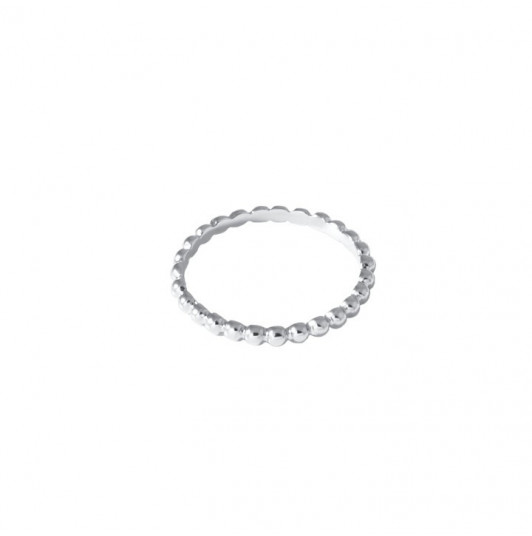 Silver thin ring with small beads