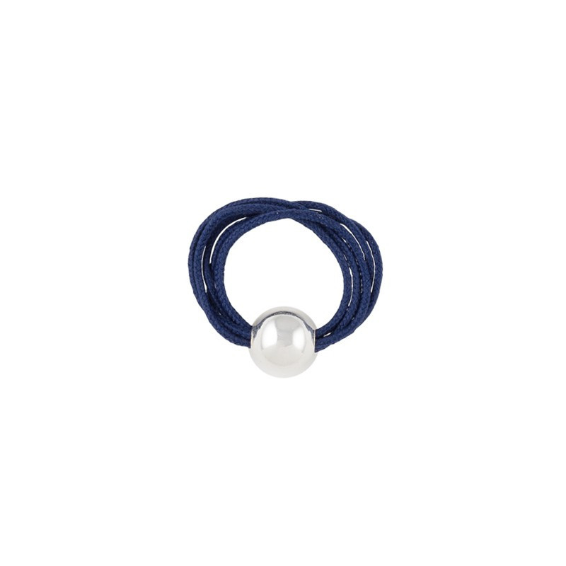Multiple string ring with silver bead