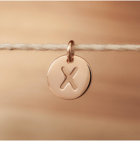 Rose gold-plated hollowed initial medal