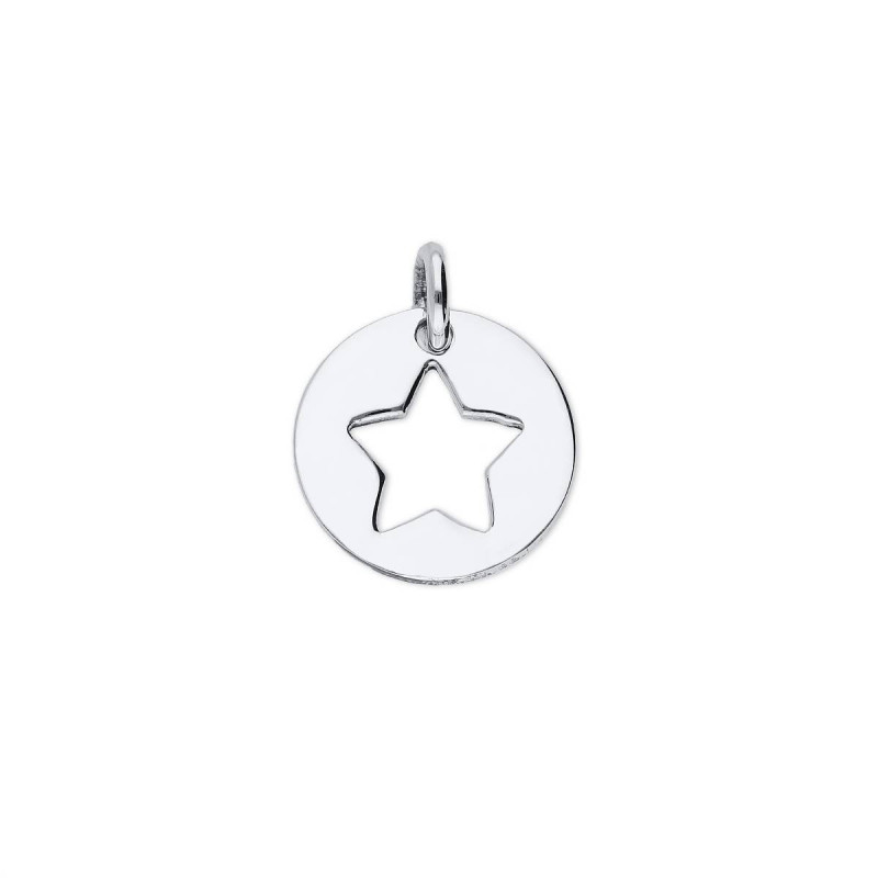 925 Silver perforated star medal