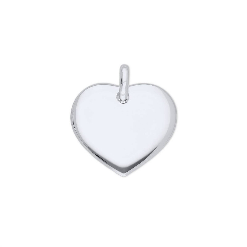 925 Silver curved heart medal
