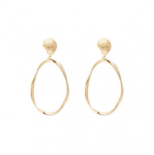Gold-plated oval ring & shell earrings
