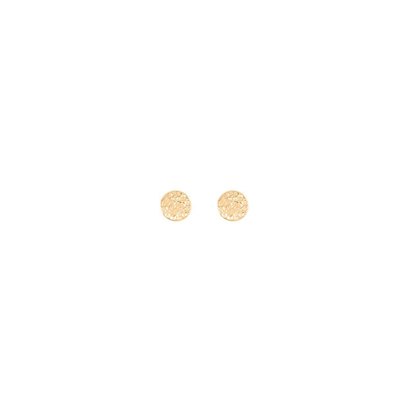 Small round hammered stud earrings