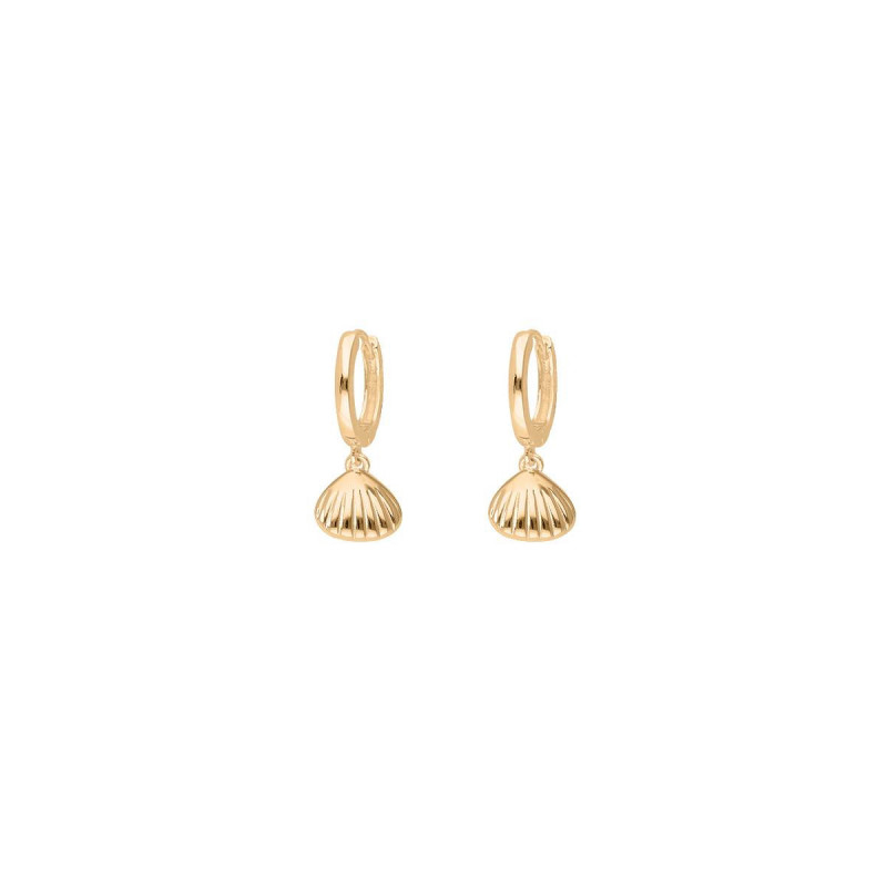 Gold-plated shell & pearl hoop earrings