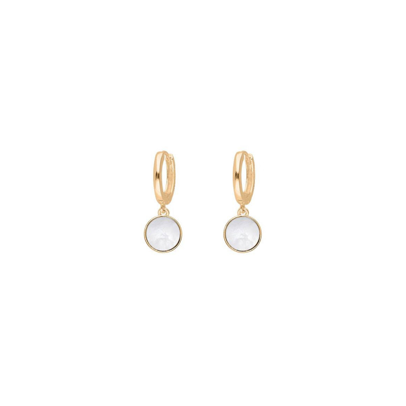 Gold-plated white nacre hoop earrings