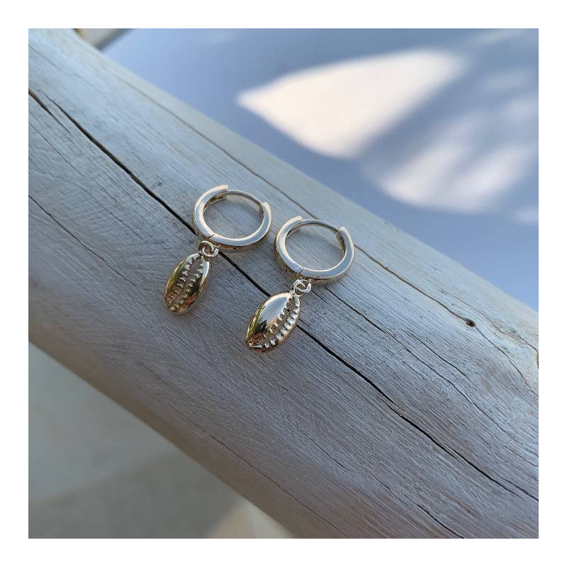 Gold-plated cowrie shell hoop earrings