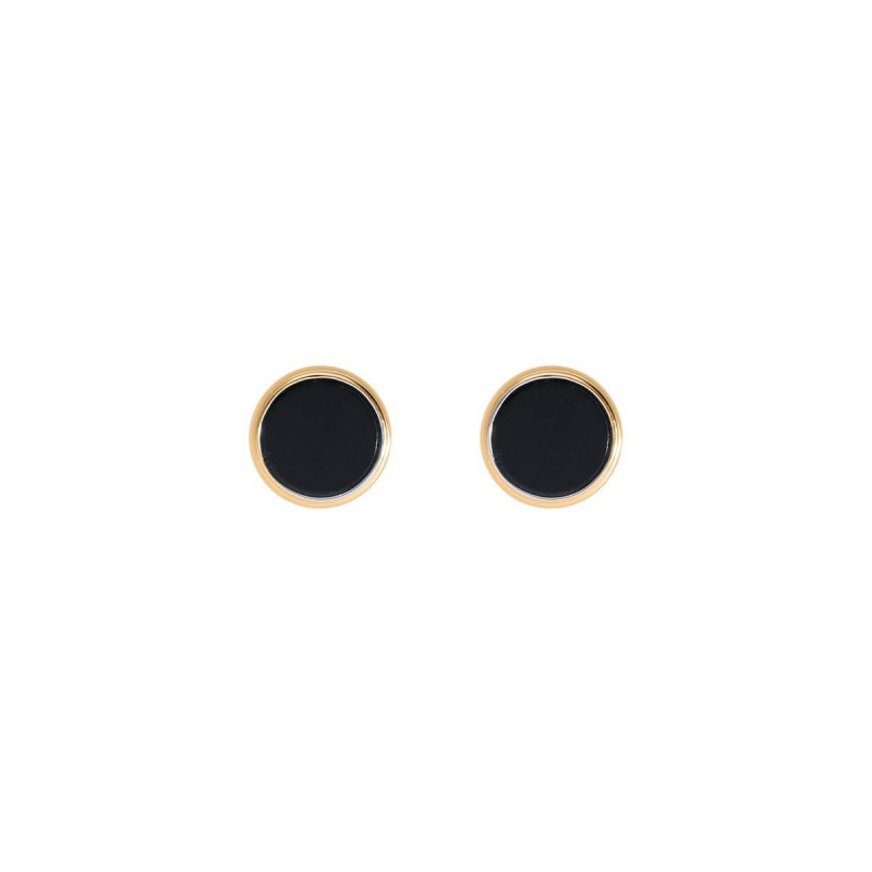 Gold-plated black stud earrings