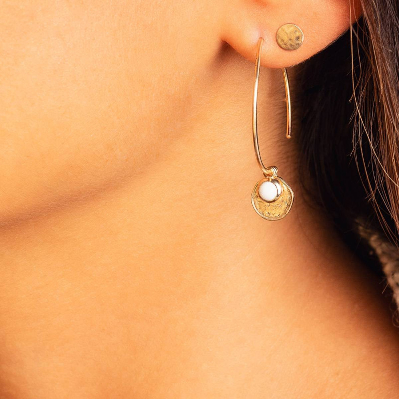 Gold-plated hammered & brushed stud earrings