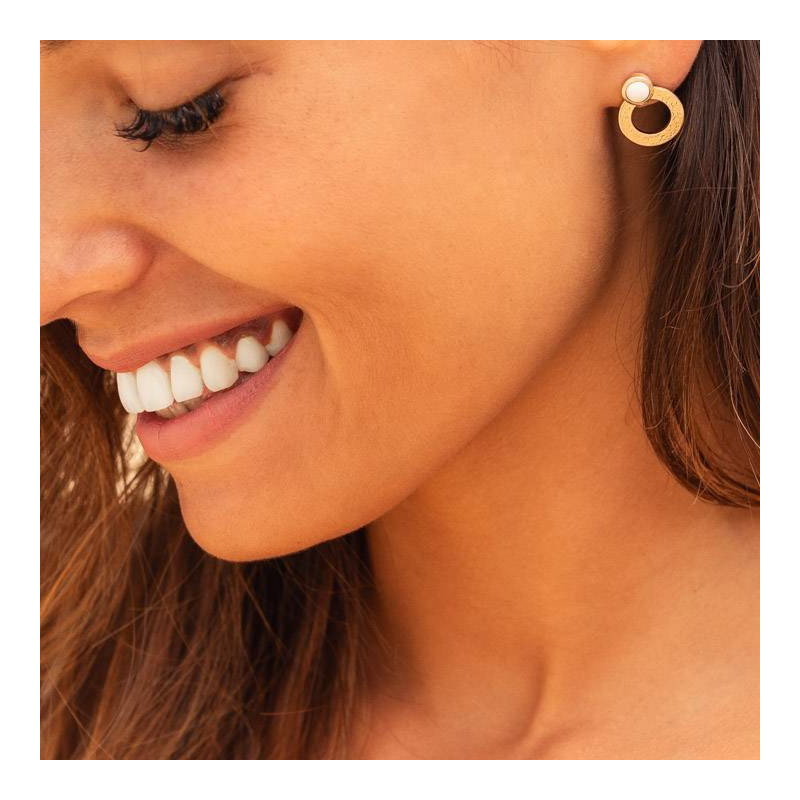 Gold-plated white turquoise Ambrosia earrings