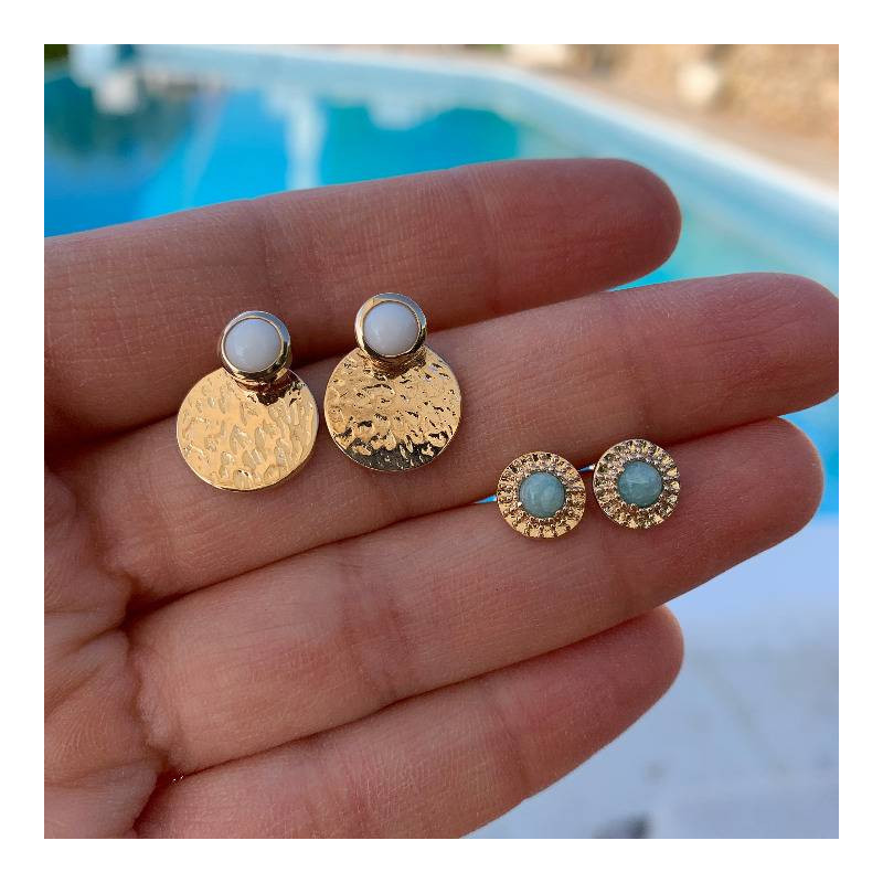Gold-plated white turquoise Aria earrings
