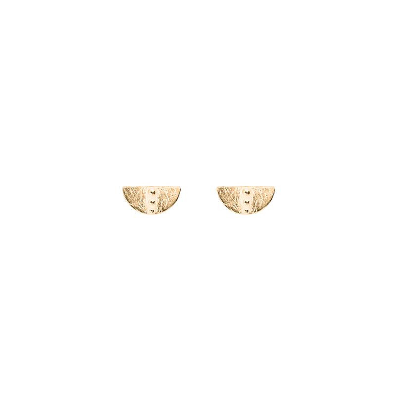 Gold-plated solar half circle earrings