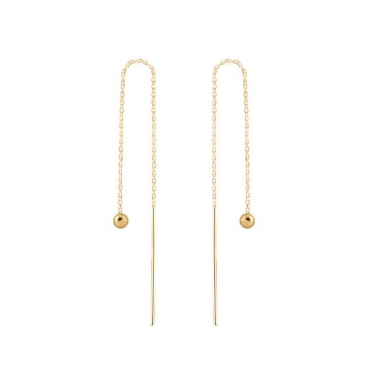 Rod and chain earrings with bead