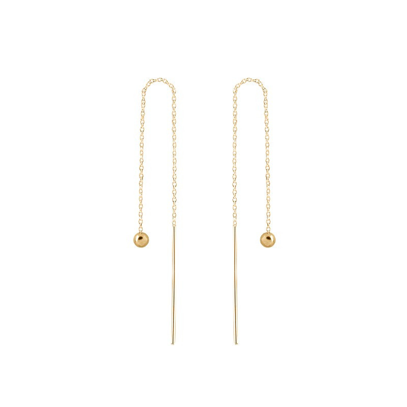Rod and chain earrings with pearl