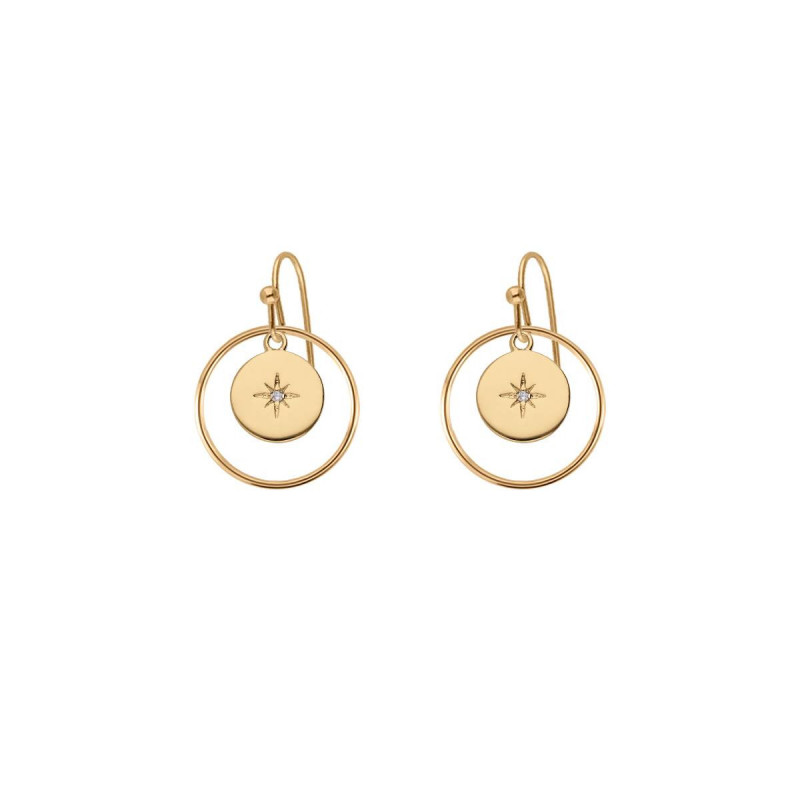 Gold-plated circled zircon star hook earrings