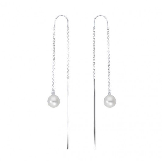 925 Silver pearl pearly chain earrings