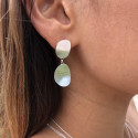 925 Silver brushed pebble earrings