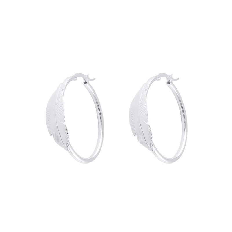 Hoop earrings with feather and clasps