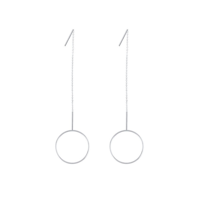 Rigide rod and chain earring with circle