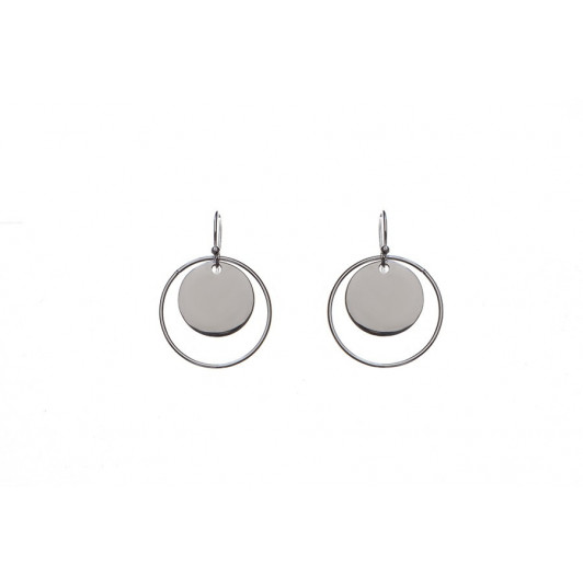 Circled medal hook earrings