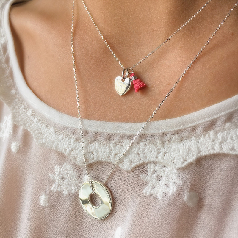 Heart and target necklace duo