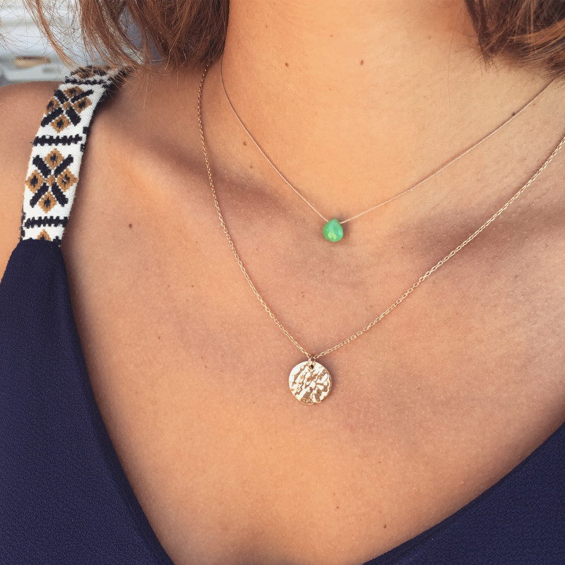 Hammered chrysoprase duo