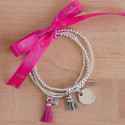 Silver beads and tubes bracelet with medal